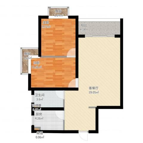 爱庐世纪新苑2室1厅1卫1厨92.00㎡户型图