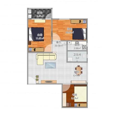 康雅花园3室1厅1卫1厨90.00㎡户型图