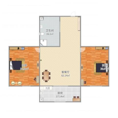 彩虹园2室1厅1卫1厨205.00㎡户型图