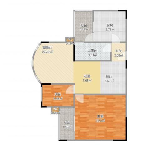 金科丽苑2室1厅1卫1厨98.00㎡户型图