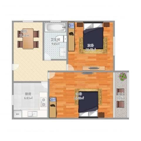 罗山二村德平路24弄17号401室2-1-12室1厅1卫1厨75.00㎡户型图