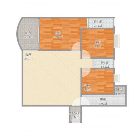 星汇华轩3室1厅2卫1厨97.00㎡户型图