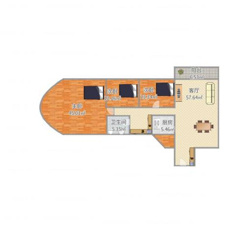 香晖园香梅阁2063室1厅1卫1厨196.00㎡户型图