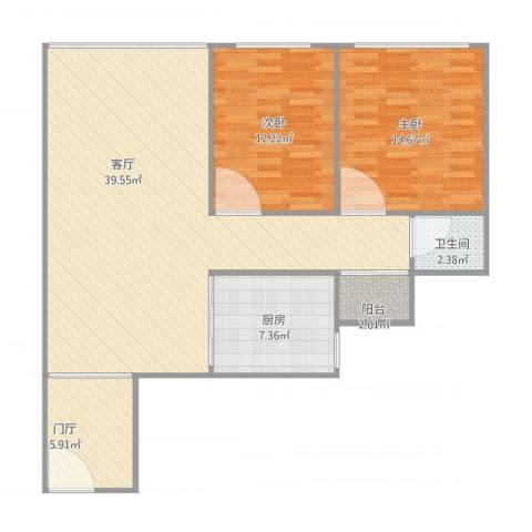 汇银环湖国际2室1厅1卫1厨112.00㎡户型图