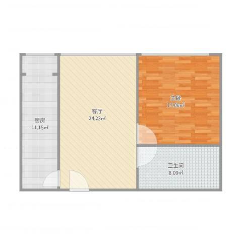 马可汇1室1厅1卫1厨81.00㎡户型图