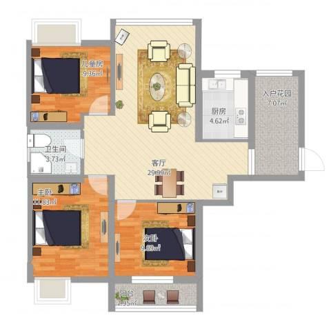 栖里凤台小区3室1厅1卫1厨113.00㎡户型图