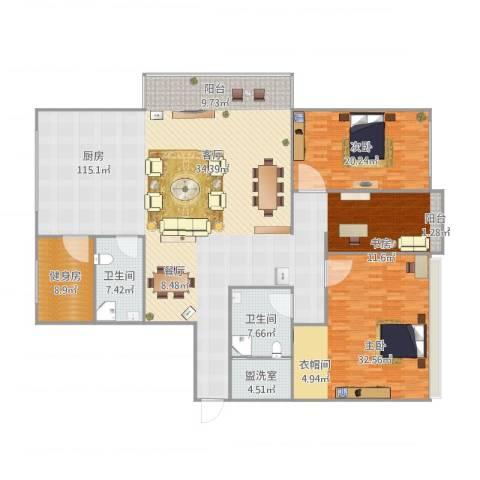 厚辉广场2室1厅2卫1厨206.00㎡户型图