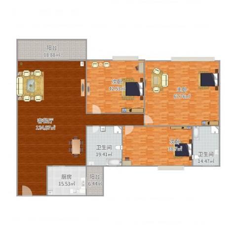 宝翠花园3室1厅2卫1厨452.00㎡户型图