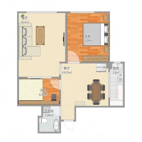 华新园2室2厅1卫1厨81.00㎡户型图