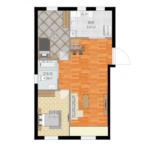 金湾山城2室1厅1卫1厨96.00㎡户型图