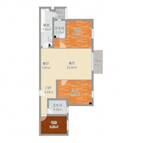 衣锦华庭3室1厅2卫1厨127.00㎡户型图