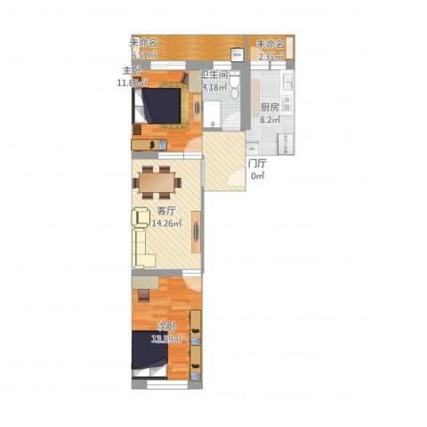 华宁北里2室1厅1卫1厨87.00㎡户型图