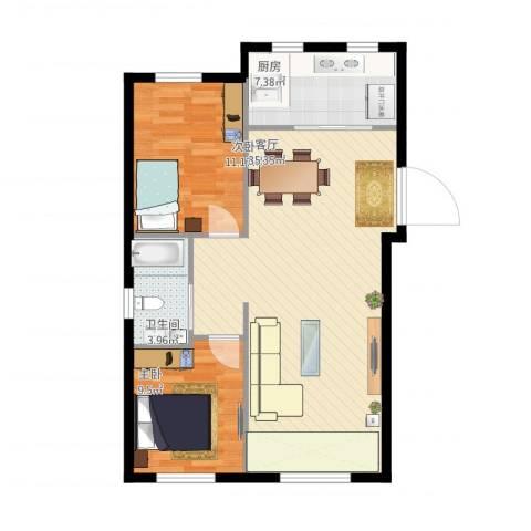 金湾山城2室1厅1卫1厨93.00㎡户型图