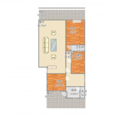 金华园3室1厅2卫1厨139.00㎡户型图