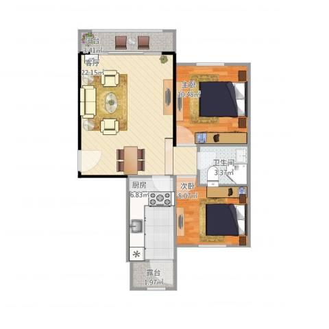 龙泽苑东区2室1厅1卫1厨76.00㎡户型图