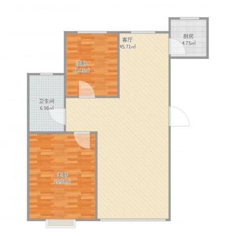 泰华林庄园2室1厅1卫1厨118.00㎡户型图