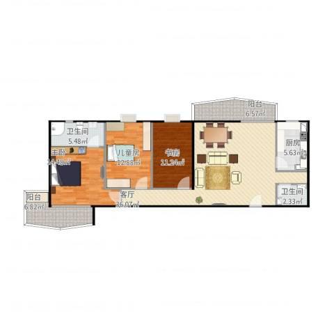 西华经典new3室1厅2卫1厨138.00㎡户型图