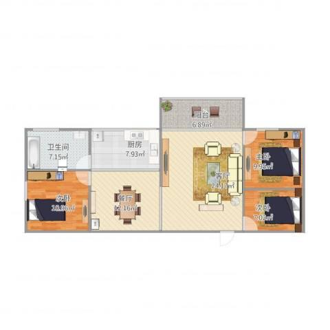 罗湖花园嘉福楼6013室2厅1卫1厨116.00㎡户型图