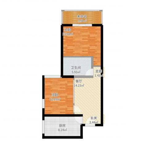 九台2000家园2室1厅1卫1厨75.00㎡户型图