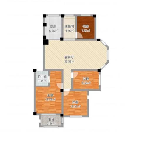 丰惠华丽家族4室1厅1卫1厨136.00㎡户型图
