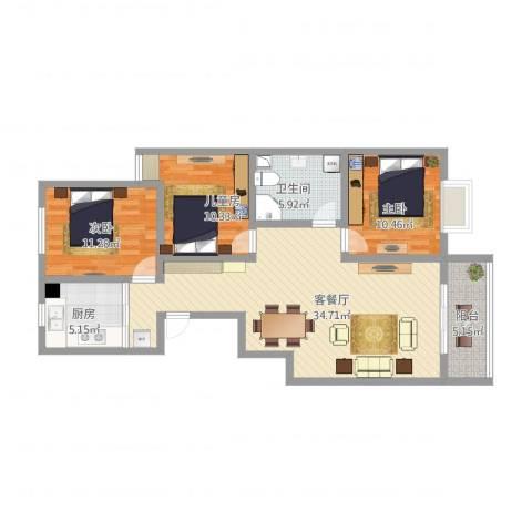 长治市丽景苑3室1厅1卫1厨121.00㎡户型图