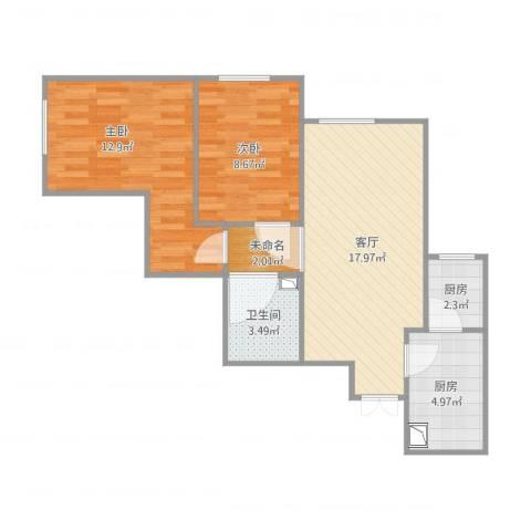 宋家庄家园2室1厅2卫2厨72.00㎡户型图