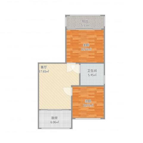金沙家园2室1厅1卫1厨79.00㎡户型图