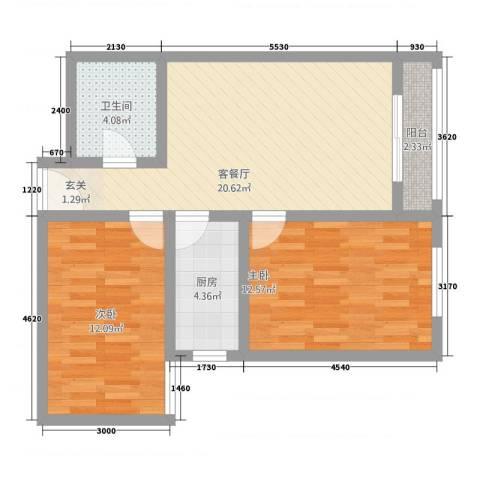 桐城・怡景2室1厅1卫1厨82.00㎡户型图