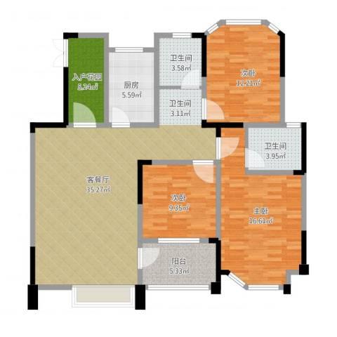 御景城3室1厅2卫1厨137.00㎡户型图