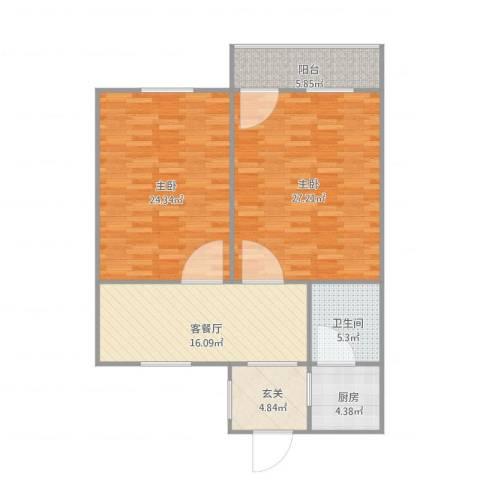 人民路小区2室1厅1卫1厨117.00㎡户型图