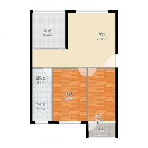 中昌新村2室2厅1卫1厨104.00㎡户型图