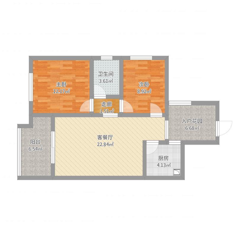 双水湾9号楼中户84平方两室两厅一厨一卫