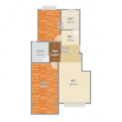 梧桐苑2室1厅1卫1厨90.00㎡户型图