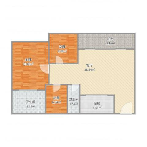 紫荆南苑3室1厅2卫1厨135.00㎡户型图