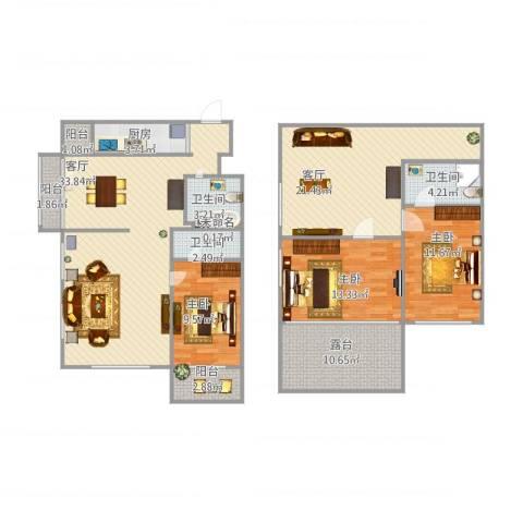 天通苑北一区3室2厅3卫1厨163.00㎡户型图