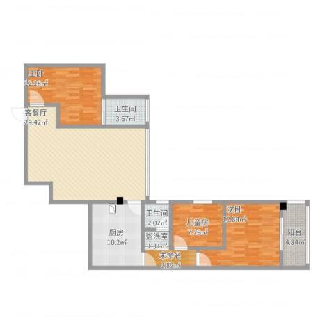 御华苑3室2厅2卫1厨124.00㎡户型图
