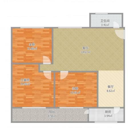 惠景城3室1厅1卫1厨120.00㎡户型图