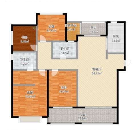 龙湖时代天街4室1厅3卫1厨220.00㎡户型图