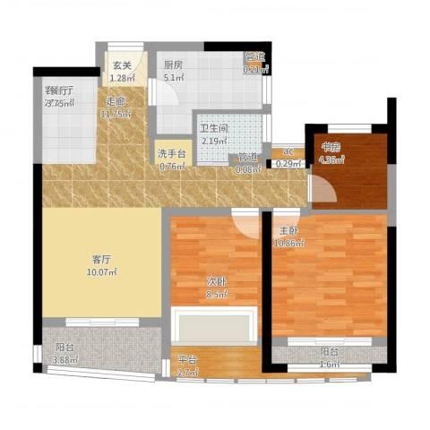 浦东颐景园3室1厅3卫3厨99.00㎡户型图