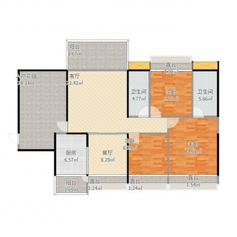 联运怡景苑3室3厅2卫1厨157.00㎡户型图