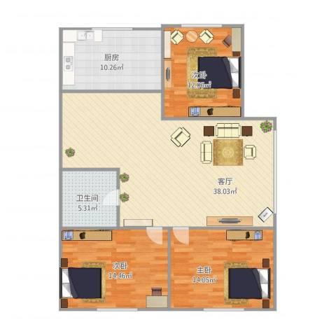 示范和平家园3室1厅1卫1厨125.00㎡户型图
