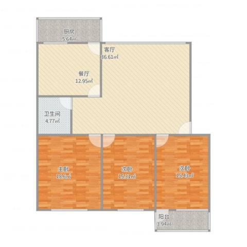 玫瑰花园3室2厅1卫1厨151.00㎡户型图