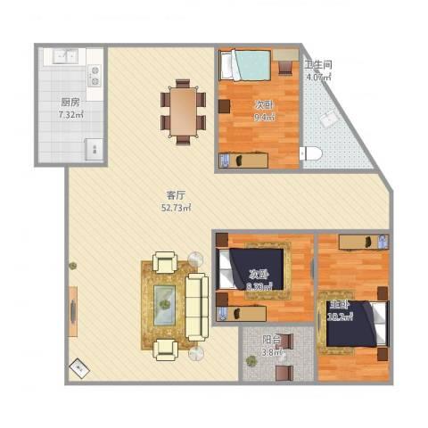 新联楼3室1厅1卫1厨128.00㎡户型图