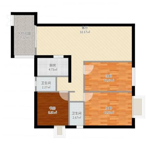 瑞丰铭城3室1厅2卫1厨116.00㎡户型图