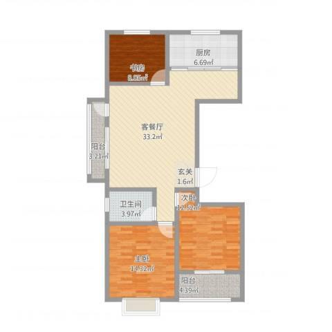 荔水湾3室1厅1卫1厨124.00㎡户型图