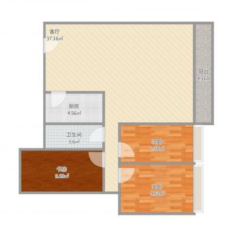 天御尚城3室1厅1卫1厨102.00㎡户型图