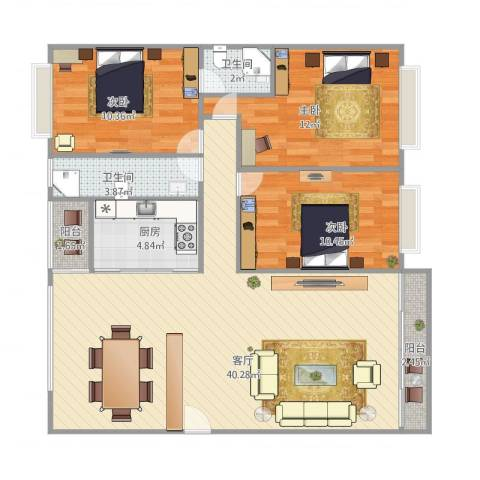 怡佳名苑3室1厅2卫1厨119.00㎡户型图