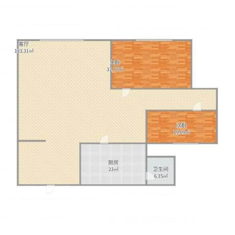 万达公寓2室1厅1卫1厨279.00㎡户型图