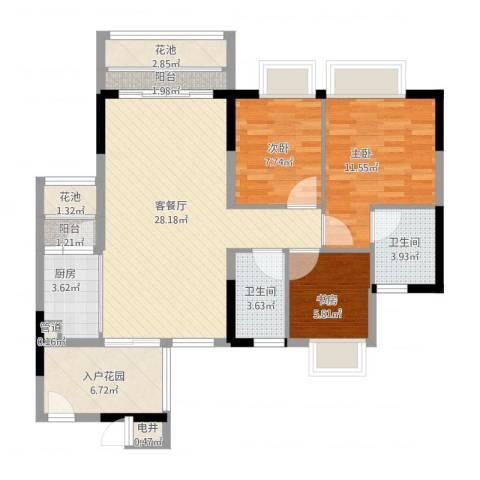 东海国际花园3室1厅2卫1厨115.00㎡户型图