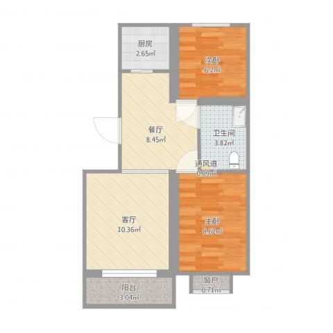 羊口新世纪家园2室2厅1卫1厨63.00㎡户型图
